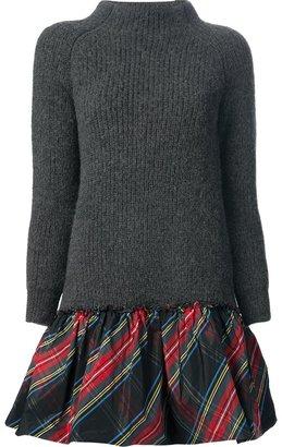 Moschino knitted tartan hem dress