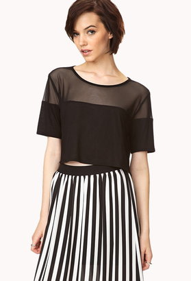 Forever 21 Show Off Mesh-Trimmed Crop Top
