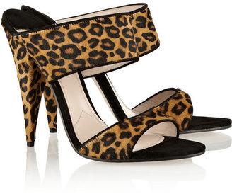 Miu Miu Leopard-print calf hair mules