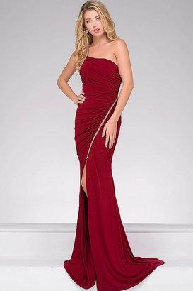 Jovani Jersey High Slit Ruched Bodice Dress JVN46616