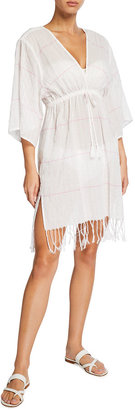 Tory Burch Striped Short Coverup Tunic with Fringe Hem