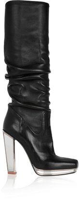 Yves Saint Laurent Mirrored-heel stretch-leather knee boots