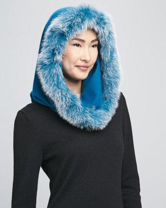 Sofia Cashmere Fox Fur-Trim Snood, Blue