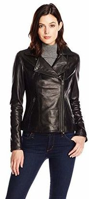 Tommy Hilfiger Women's Classic Leather Motorcycle Jacket $450 thestylecure.com