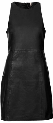 Topshop Premium leather cut-away shift dress