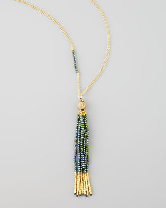 Nakamol Yellow Golden Tassel Pendant Necklace, Green