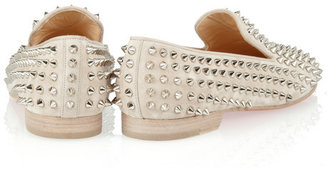Christian Louboutin Rolling Spikes studded suede slippers