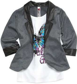 Beautees Kids Top, Girls Blazer-Overlay Glitter-Graphic Shirt