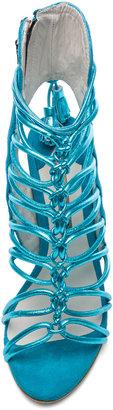 Webster Sophia Lacey Grain Metallic Leather Tie Up Heels in Turquoise