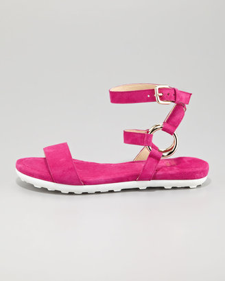 Stuart Weitzman Ringo Ankle-Strap Suede Flat Sandal, Geranium