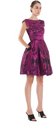 Theia Metallic Jacquard Fit and Flare Dress