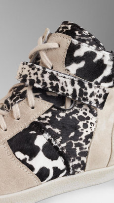 Burberry Animal Print Calfskin High-Top Trainers