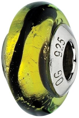 Murano Prerogatives Lime with Black Stripes Italian Glass Bead