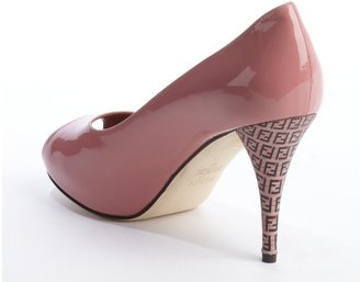 Fendi Pink Patent Leather Zucca Printed Heel Peep Toe Pumps