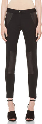 Yigal Azrouel Ponte Leather Legging in Jet