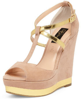Dorothy Perkins Nude and metallic strap wedges