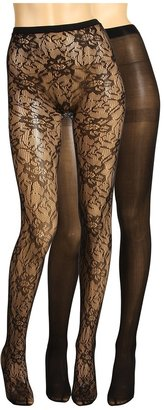 Anne Klein Tights - Solid Textured Tight (2-Pair Pack) (Black/Black) - Hosiery