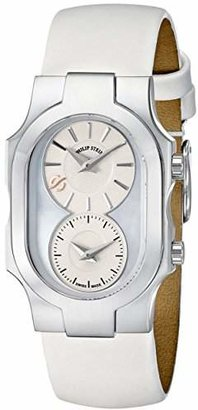 Philip Stein Teslar Women's 100-SMOP-IW Swiss Signature Stainless Steel Watch with White Leather Band