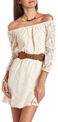 Charlotte Russe Belted Off-the-Shoulder Lace Dress