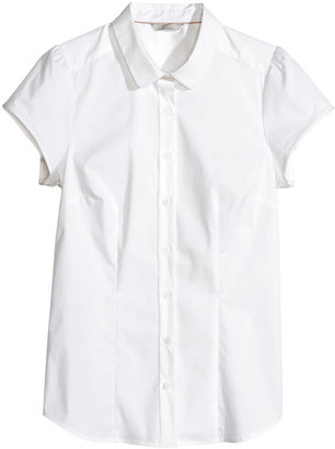 H&M Short-sleeved Blouse - White - Ladies