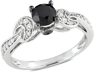 Ice.com 1 Carat Black and White Diamond 10K White Gold Ring w/Black Rhodium