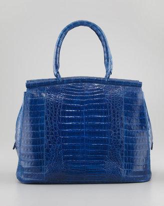 Nancy Gonzalez Large Crocodile Bar Tote Bag, Royal