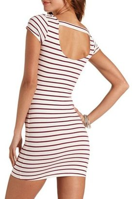 Charlotte Russe Striped Short Sleeve Cotton Bodycon Dress