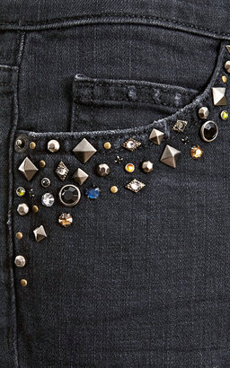 Current/Elliott The Ankle Skinny Embellished Pocket Jeans