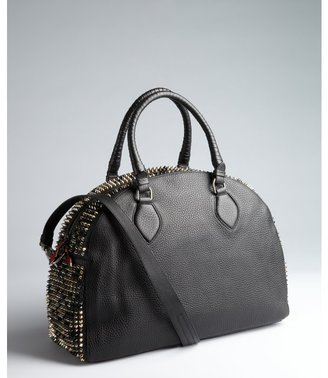 Christian Louboutin black leather 'Panettone' spiked top-handle satchel