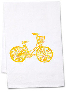 S/2 Bicycle Tea Towels, Goldenrod