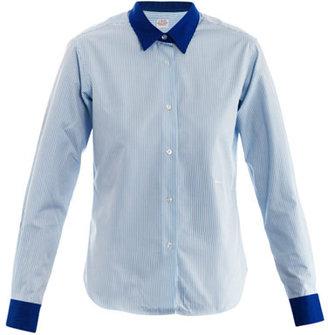 E. Tautz Contrast collar and cuff stripe-print shirt