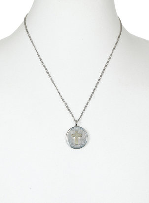 Topman Premium Mixed Metal Cross Coin Pendant Necklace