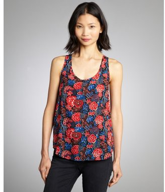 French Connection black, blue and red floral printed sleeveless 'Issy' top