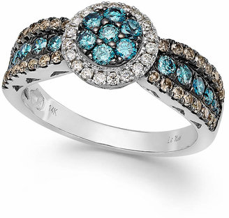 Le Vian Chocolate, Blue and White Diamond Ring in 14k White Gold (7/8 ct. t.w.) $4,601 thestylecure.com