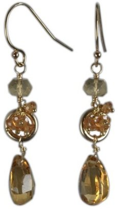 Nancy Cohen honey citrine and gold drop earrings