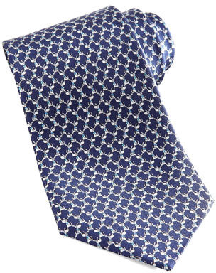 Salvatore Ferragamo Dog Silk Tie, Navy