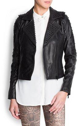 MANGO Studded leather biker jacket