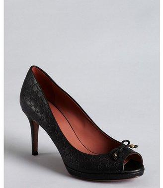 Gucci black guccissima leather bow peep toe pumps