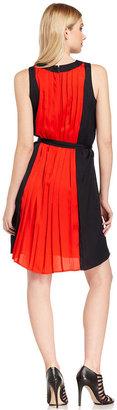 MICHAEL Michael Kors Dress, Sleeveless Colorblock Pleated
