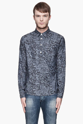 Rag and Bone RAG & BONE Slate blue and black Half Grange Shirt