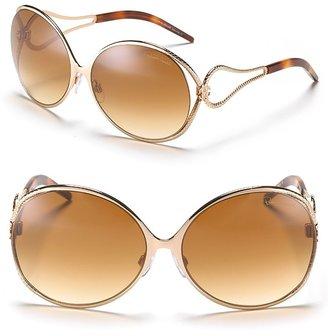 "Roberto Cavalli Orchidea"" Round Sunglasses with Open Temple Snake Frames"