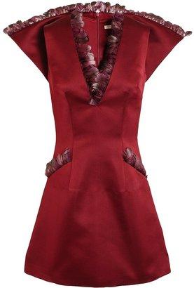 Christopher Kane Feather Trimmed Satin Dress