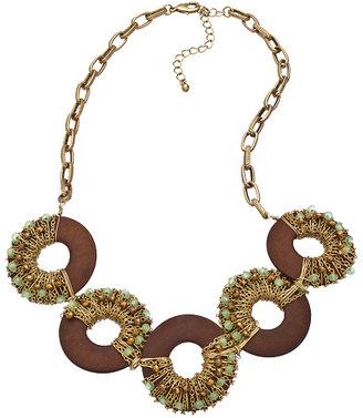 Blu Bijoux Jade Wood Hoop Bib Necklace