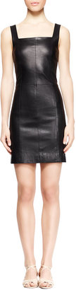 The Row Gwenna Fitted Leather Dress, Black