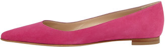 Manolo Blahnik BB Suede Pointed-Toe Flat, Hot Pink