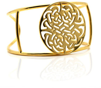 Tresor Logo Cuff in Yellow Gold