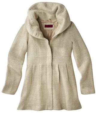 Coffee Shop Junior's Tweed Coat with Stand Up Collar -Ivory/Taupe