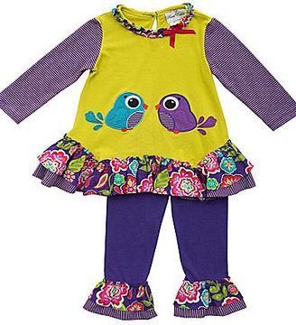 Rare Editions 3-24 Months Mixed-Media Bird Dress & Solid Leggings Set