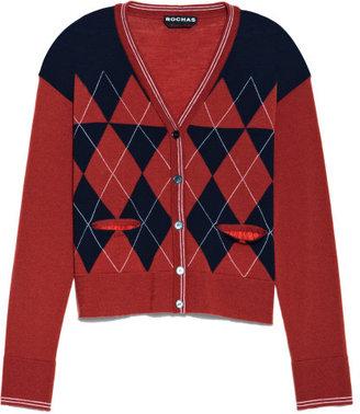 Rochas Preorder Superfine Wool Argyle Cardigan