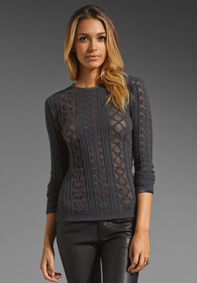 Alexander Wang Brushed Cable Lace Velvet Trim Top